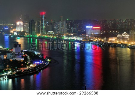 China Shanghai Huangpu river aerial night view. - stock photo