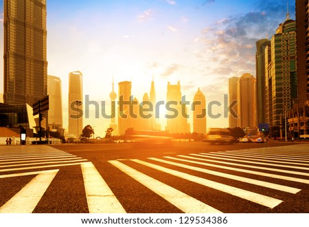 China Shanghai modern architecture, motion blur car. - stock photo