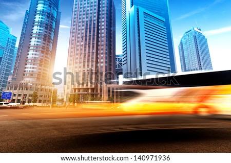 China Shanghai modern architecture, motion blur car. - stock photo