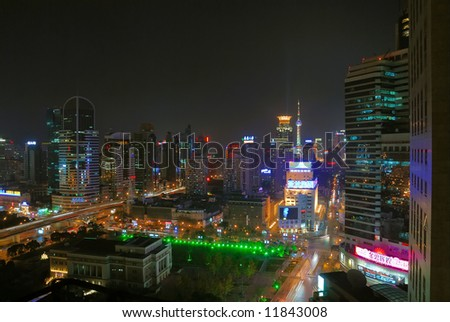 China Shanghai opera house and skyline night view