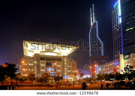 China Shanghai People square Exhibition Hall night view