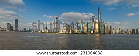 China Shanghai Pudong district Skyline during a cloudy day - stock photo