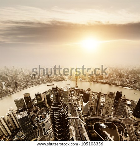 China Shanghai the huangpu river and Pudong skyline at sunset. - stock photo