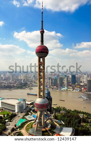 China Shanghai  the pearl tower and Puxi skyline - stock photo