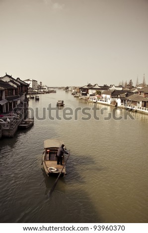 China,Shanghai water village Zhujiajiao - stock photo