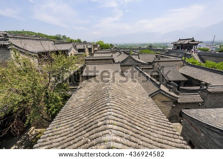 China Shanxi Province Wang Family Courtyard, a famous Chinese folk ancient buildings.