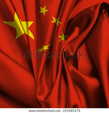China silk flag - stock photo