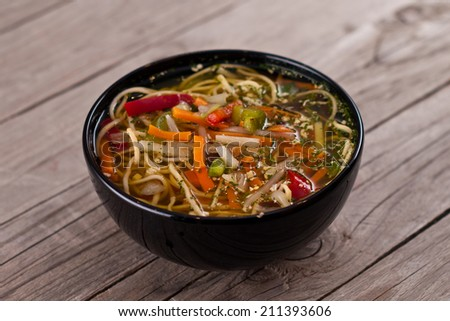 China soup with vegetables.  - stock photo