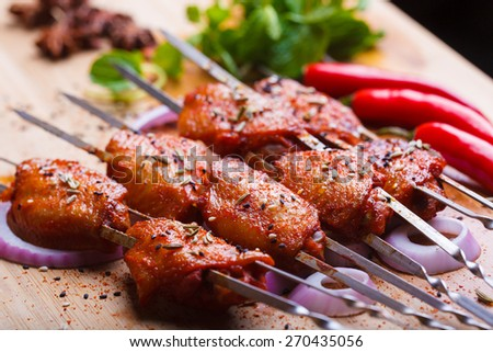 China style grilled chicken, spicy chicken wings - stock photo