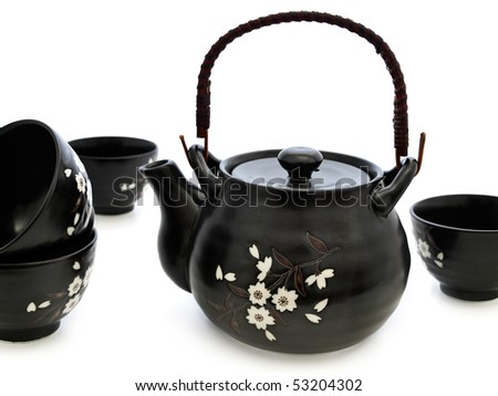 china tableware for chinese tea ceremony over white