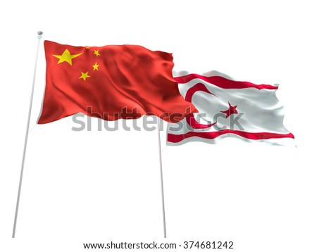 China & Turkish Republic of Northern Cyprus Flags are waving on the isolated white background