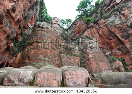 China world heritage site: giant buddha in Sichuan ( Leshan Dafo ) - stock photo