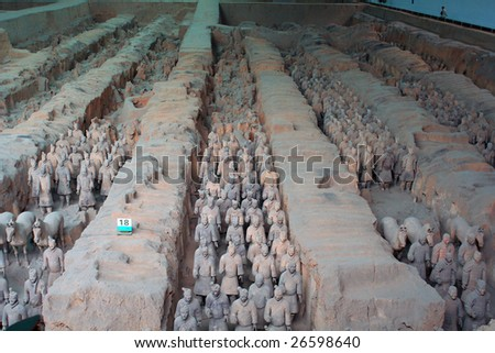 China/Xian: The Panorama  of The Terracotta Warriors and Horses in Emperor Qin Shihuang's mausoleum - stock photo