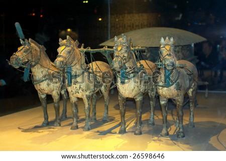 China/Xian: The Terracotta Horses in Emperor Qin Shihuang's mausoleum - stock photo