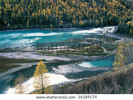 China/xinjiang hiking: Fall colors of lying dragon bay in Kanas