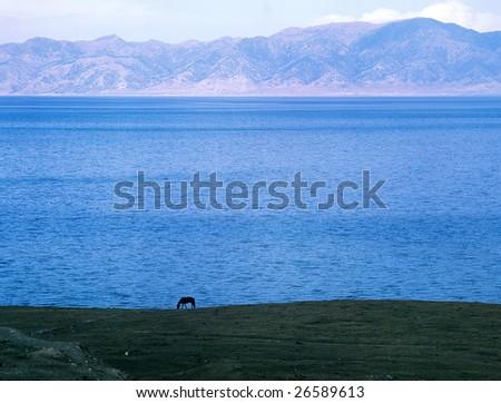 China/xinjiang hiking: Sailimu lake - stock photo