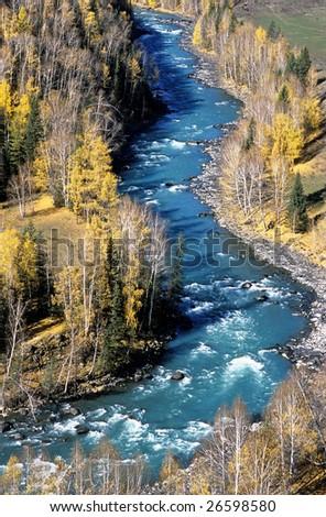 China/xinjiang hiking: the turning of Kanas river - stock photo