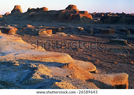 China/xinjiang hiking: Urho Ghost Castle when sunset- Yadan landform