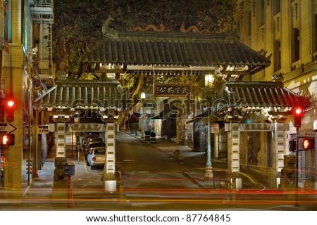 Chinatown Gate in San Francisco California at Night - stock photo