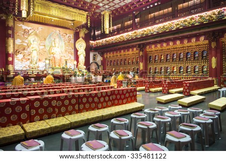 CHINATOWN, SINGAPORE - OCTOBER 12, 2015: interior of buddha tooth relic temple & museum is a very famous in Chinatown, Singapore on October 12, 2015, building