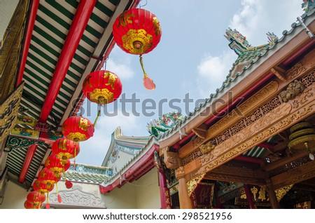 Chinatown Wat Mangkon Kamalawat, Bangkok  Chinese temple in Thailand - stock photo