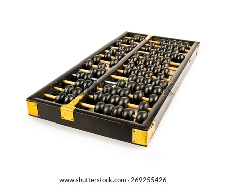 Chinese abacus isolated - stock photo