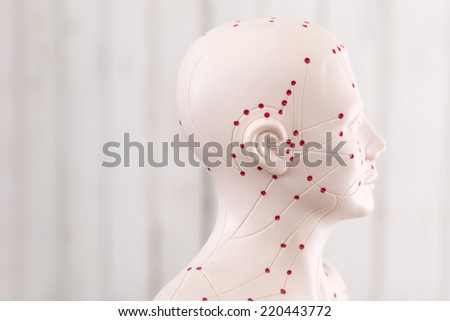 Chinese acupuncture puppet against wooden wall - stock photo