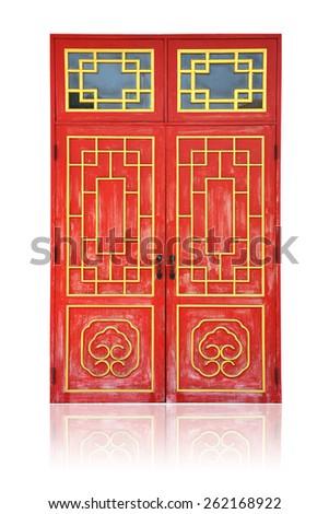 Chinese ancient wood door - stock photo
