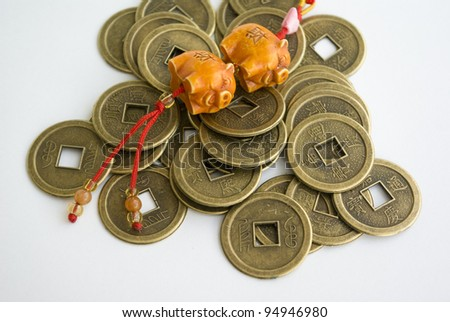 chinese antique coins and jade - stock photo