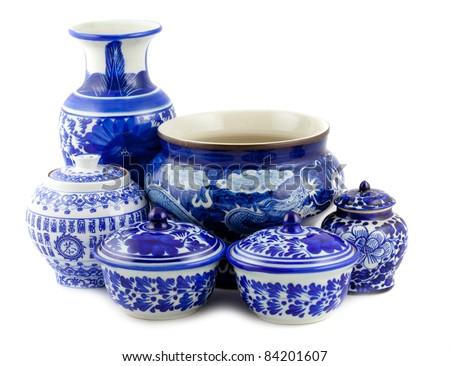 chinese antique vase on the white background - stock photo