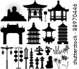 Chinese Asian Temple Building Architecture Design Elements - stock photo