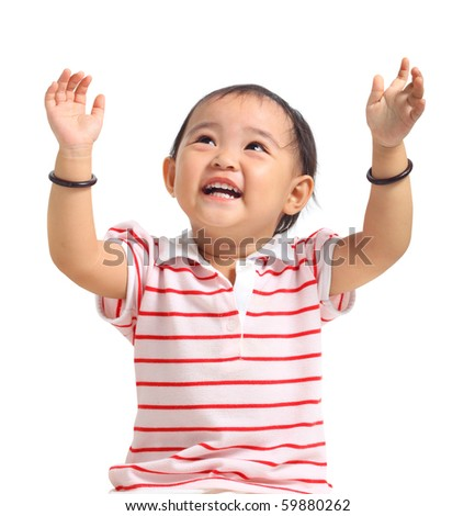 Chinese baby girl with hands up