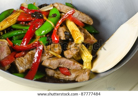 chinese black bean beef stir fry - stock photo