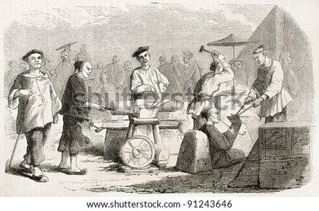 Chinese blacksmiths old illustration. Created by Borget, published on L'Illustration, Journal Universel, Paris, 1858 - stock photo