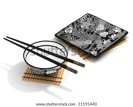 Chinese bowl and chopsticks and square plate on bamboo mat - stock photo