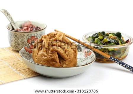 Chinese breakfast on a white background. - stock photo