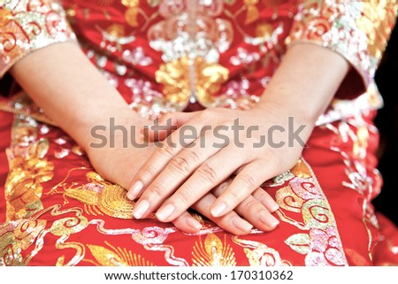 Chinese bride in wedding day