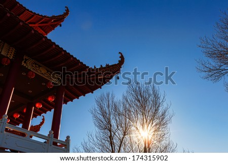Chinese Buddhist Temple in a Winter Morning - stock photo