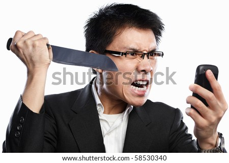 Chinese businessman expression and using knife when using video call, isolated on white background - stock photo