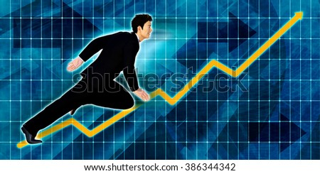 Chinese Businessman Running with Chart Graph Background Art - stock photo