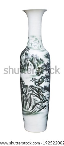 chinese ceramic painting jug isolated white background use for decorated and multipurpose - stock photo