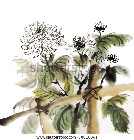 Chinese chrysanthemum garden ink painting on white background. - stock photo