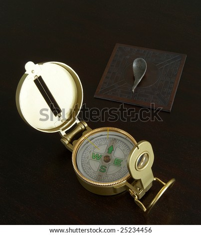 Chinese compass points south while Western compass points north - stock photo