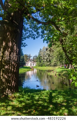 Chinese Creaking Summer House in Royal Catherine park located in Pushkin, Saint Petersburg. The building of Queen Catherine's Palace on sunny day. Russian royal tourist attractions.