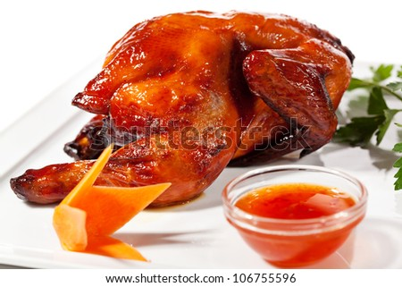 Chinese Cuisine - Baked Chicken with Spicy Sauce - stock photo
