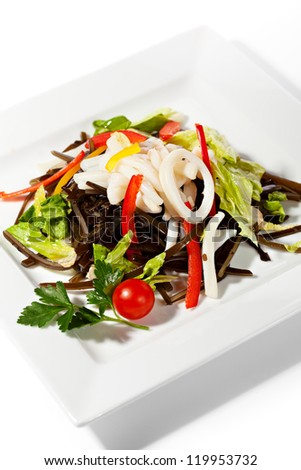 Chinese Cuisine - Calamary with Vegetables Salad - stock photo