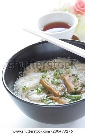 Chinese cuisine, chicken and rice noodles with tea on background