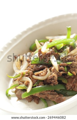 Chinese cuisine, green pepper and beef stir fried
