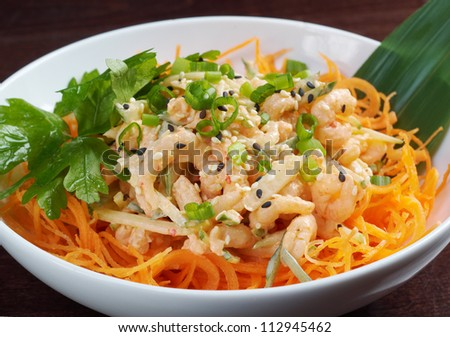 chinese cuisine .salad of shrimp, mixed greens - stock photo