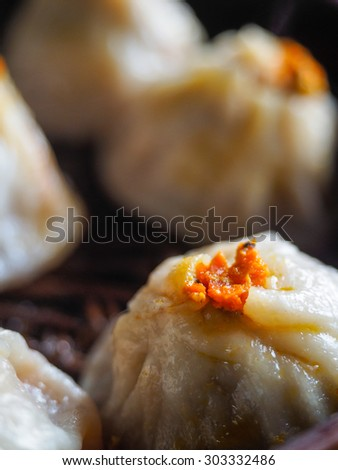 chinese delicious food-steamed stuffed bun/steamed stuffed bun - stock photo